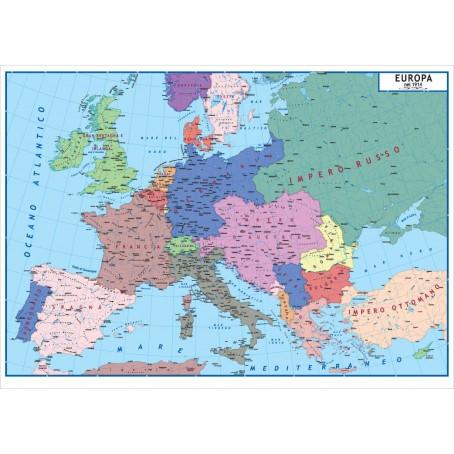 Sicilia Cartina Geografica.Carta Geografica Storica Europa Dopo 1815 E Prima Della I Guerra Mondiale 100x140 Bifacciale Fisica E Politica