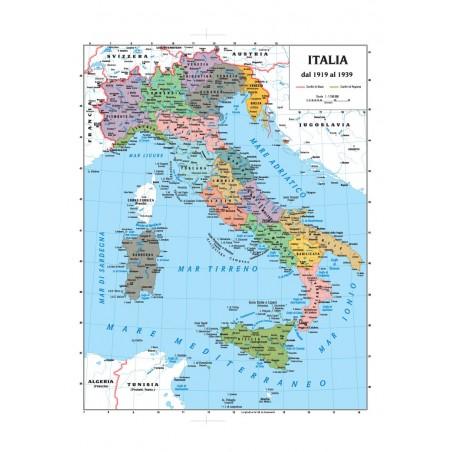 Carta geografica Storica Italia tra le guerre mondiali  100x140 bifacciale fisica e politica