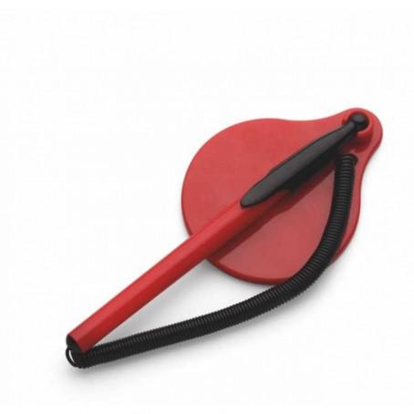Stiloforo a sfera  con molla catenella e base adesiva ROSSO utile per reception varie attività