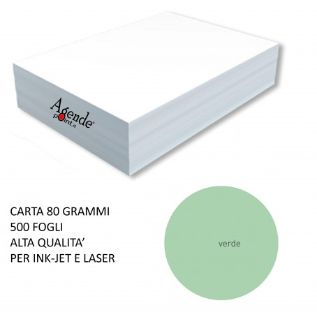 Risma carta color verde acqua marina A4 - 80gr 500ff - monocolore