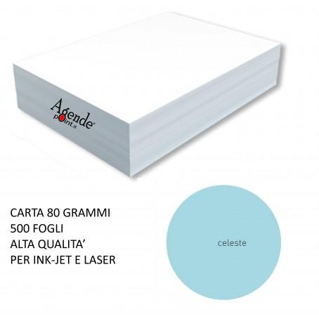 Risma carta color celeste A4 - 80gr  500ff  - monocolore