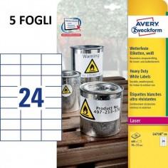 Avery L6146-20 Etichette Non Rimovibili, 24 Pezzi per Foglio ( 5 Fogli) , 63.5 x 33.9, Bianco