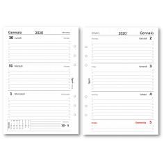 Ricambio agenda 2019 settimanale bianco Bi-Lingue ( 14,8x21 ) ricambio agenda 6 fori organizer