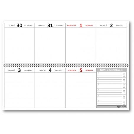 Planning agenda da tavolo 2020 a caselle WHITE settimanale spiralato ( carta 90 gr )  10x30 - planner da tavolo