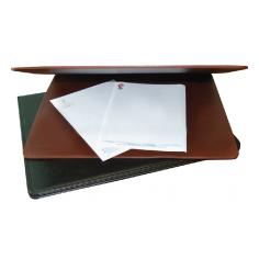 Sottomano da scrivania in ecopelle  MARRONE  41x50 apribile 2 specchi