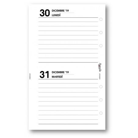 Ricambio agenda 2020 BI-GIORNAIERO bianco (9,5 x 17)  agenda 2 giorni per pagina