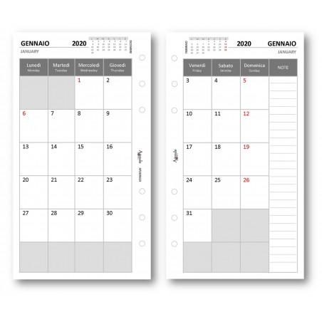Ricambio agenda 2020 mensile bianco 9,5 x 17 ricambio agenda organizer