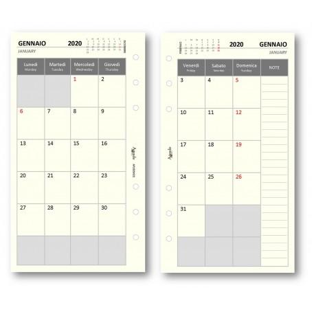 ricambio agenda organizer 9,5 x 17 Ricambio agenda 2019 giornaliero AVORIO