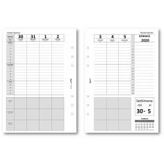 Ricambio agenda 2020 settimanale verticale con note 14x21 bianco ricambio agenda organizer