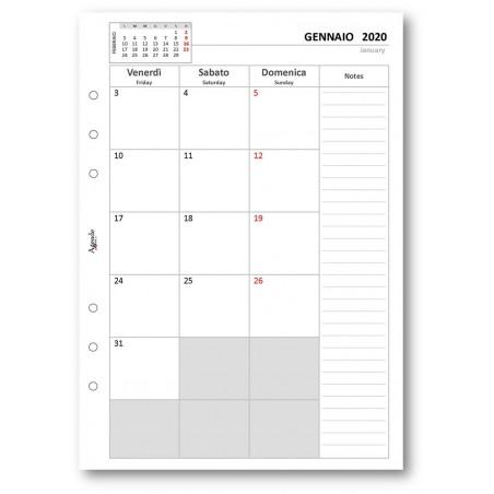 Ricambio agenda 2020 mensile a caselle 14x21,5 per agenda organizer