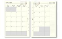 Ricambio agenda 2020 mensile a caselle AVORIO ( 80 gr) 14,8x21,5 per agenda organizer