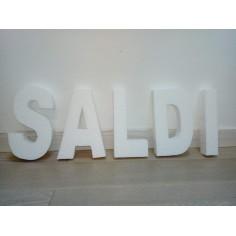 "Scritta ""SALDI""   3D in polistirolo ( 25 cm Altezza ) 4 cm spessore  - per decorazioni insegne e scritte"