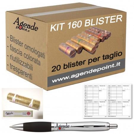 160 blister per monete - tagli assortiti  - (20 pezzi per taglio) contenitori per euro