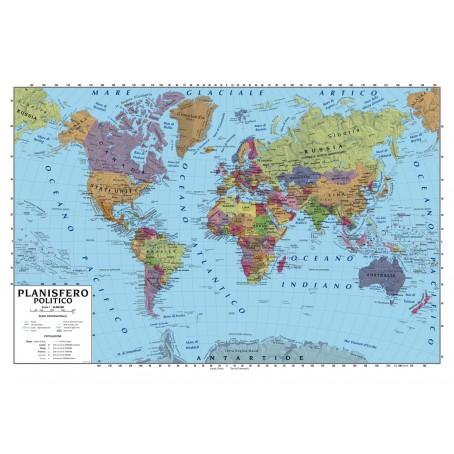 Cartina Dell Africa Fisica E Politica.Carta Geografica Murale Planisfero Mondo 100x140 Scolastica Bifacciale Fisica E Politica