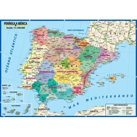 La Spagna Cartina Fisica.Carta Geografica Murale Italia 100x140 Bifacciale Fisica E Politica