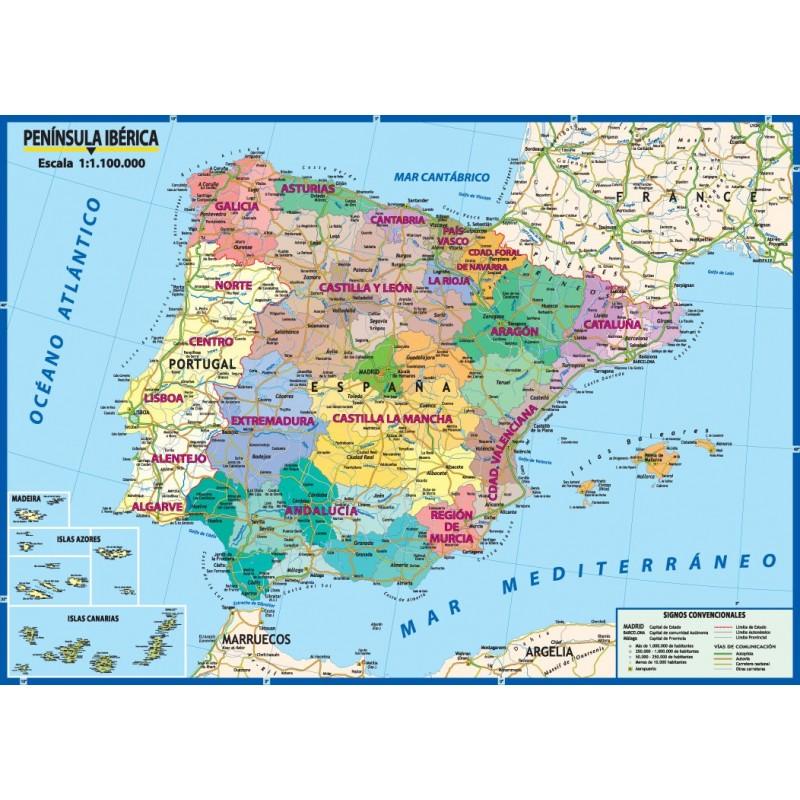 Cartina Spagna Politica E Fisica.Carta Geografica Murale Italia 100x140 Bifacciale Fisica E Politica