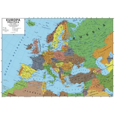Cartina Asia Fisica.Carta Geografica Murale Europa 100x140 Scolastica Bifacciale Fisica E Politica