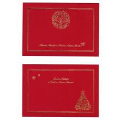 Biglietti auguri monofaccia Buon Natale e felice anno nuovo - 6 pezzi rosso con busta