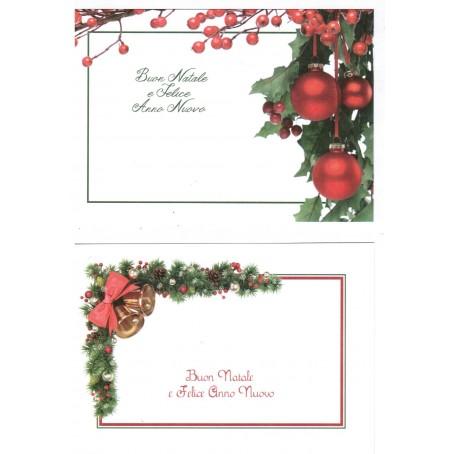 Biglietti auguri monofaccia Buon Natale e felice anno nuovo - 2 pezzi con busta