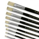 Set 3 pennelli piatti in pura setola  - punta 0 - 6 - 12