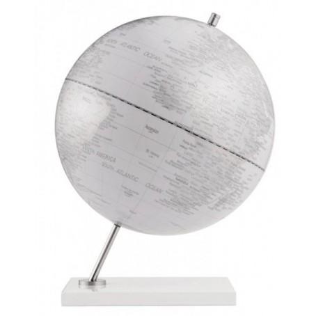 Mappamondo in alluminio Atlantis  - bianco  bianco - diam 30cm  oggetto da arredo