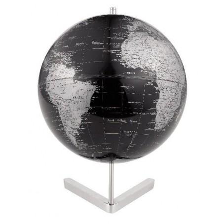 Mappamondo in alluminio Atlantis - nero silver - diam 30cm oggetto da arredo