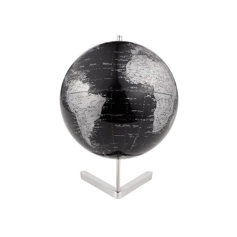mappamondo in alluminio atlantis nero silver diam 30cm