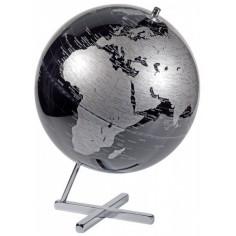 Mappamondo in alluminio Discovery - nero silver - diam 30cm oggetto da arredo