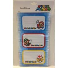 Super Mario Bros - etichette adesive nome per quaderni e libri - 9 pezzi