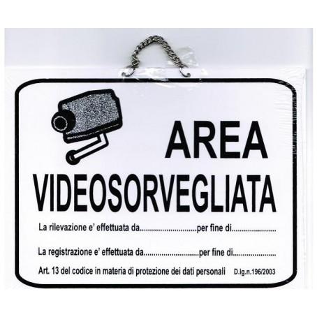 Targa Videosorveglianza in pvc bianco con catenella - 21x16