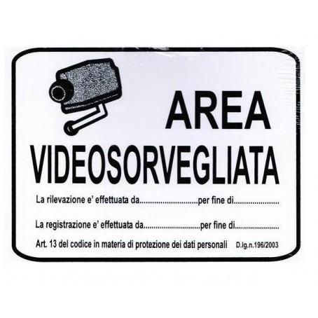Targa Videosorveglianza in pvc adesivo bianco con catenella - 21x16