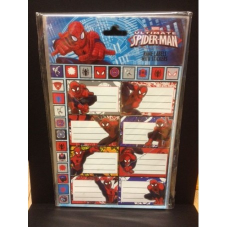 Spider Man - etichette adesive nome per quaderni e libri - 8 pezzi
