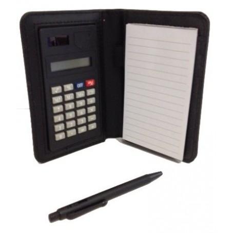 Mini portablocco tascabile con calcolatrice inclusa