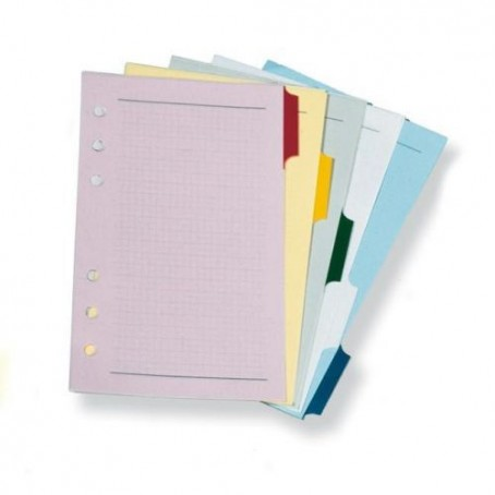 Ricambio divisori in carta colorati  9,5x17 - per agende organizer