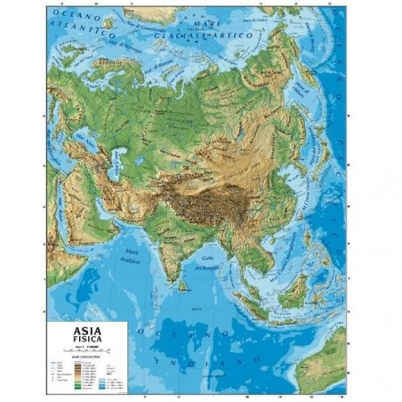 Carta geografica murale Asia - 100x140 - bifacciale fisica e politica