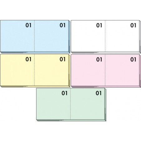 Blocco numerato 1-100 - 5 pezzi - colori pastello