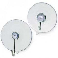 2 ventose in gomma trasparente con gancio in metallo - d. 4 cm
