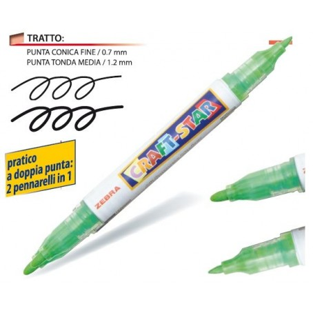 Marker a tempera doppia punta - 0,7 + 1,2 - Zebra craft-star