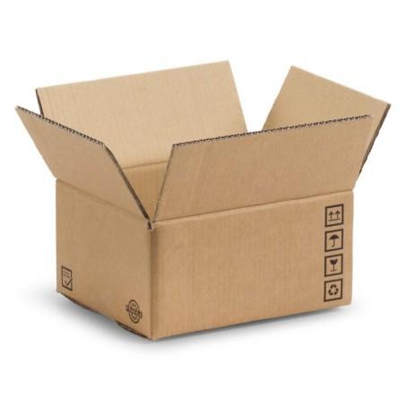 10 scatole in cartone per spedizione - 32x23x16 - mono onda - marrone con simboli