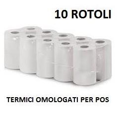10 Rotoli termici Omologati per tutti i POS - 57x16 Foro12 - alta qualità