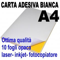 Carta adesiva bianca A4 opaca - 10 ff - stampanti laser inkjet fotocopiatrice