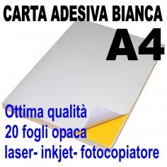 Carta adesiva bianca A4 opaca - 20 ff - stampanti laser inkjet fotocopiatrice