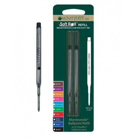 2 Refill roller per Sheaffer - nero punta media - kit 2 refill monteverde