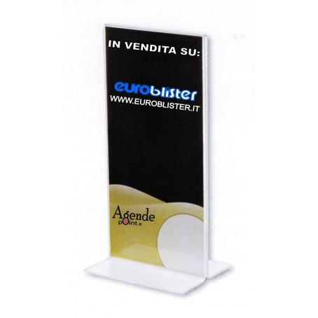 Portadepliant 1/3 di A4 con base a T - 10x21- in plex trasparent - portabrochure