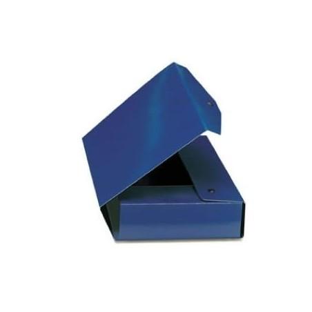 5 scatole portaprogetti con bottone blu - dorso cm