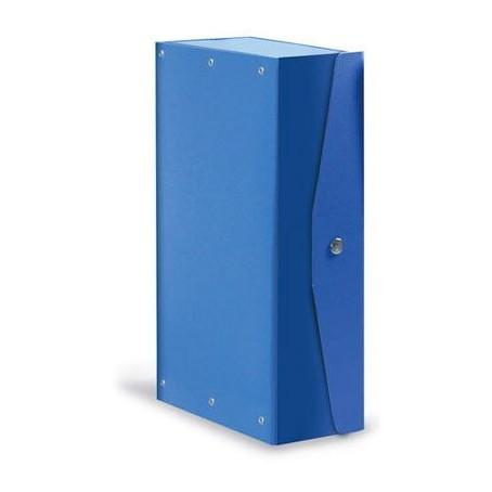 5 scatole cartelle portaprogetti con bottone blu - dorso cm
