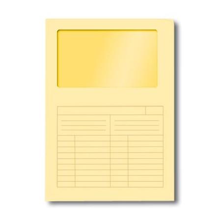 50 cartelle con finestra sintex in cartoncino - ad L  22 x 31 - giallo