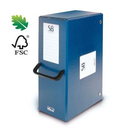 Scatola cartella portaprogetti con bottoni e maniglia - dorso 12 - colore blu