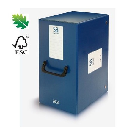 Scatola cartella portaprogetti con bottoni e maniglia - dorso 20  - colore blu