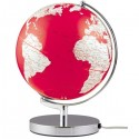 Mappamondo con luce in alluminio TERRA LIGHT rosso